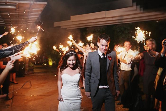 bride groom sparkler sendoff
