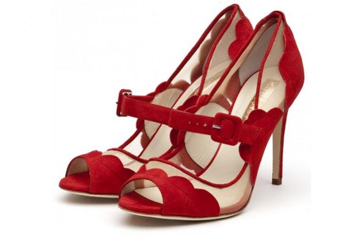 red wedding shoes illusion cutouts peep toe bridal heels