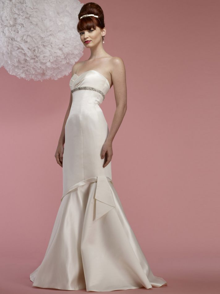 2012 wedding dress YSL inspired bridal gowns beading below bust Edie