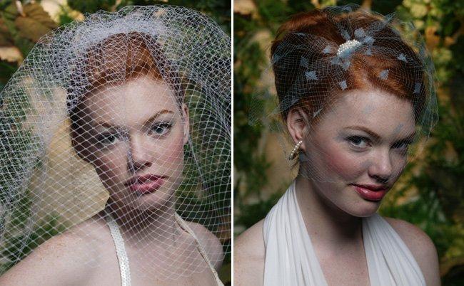 vintage inspired birdcage bridal veils