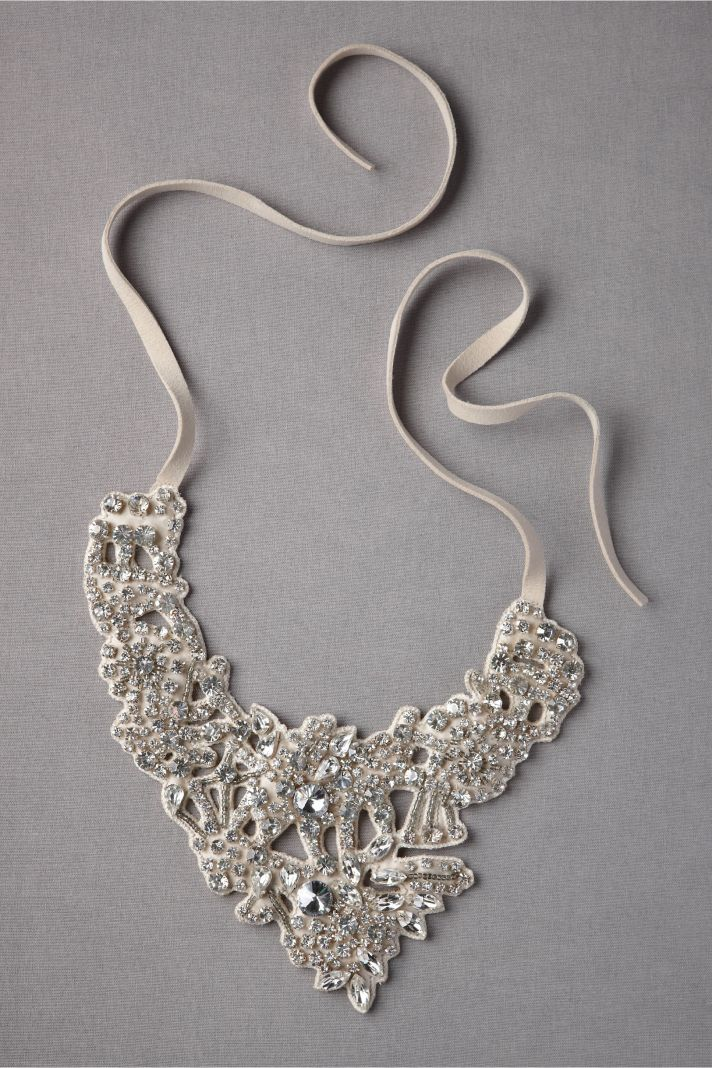 BHLDN bride statement wedding necklace silver