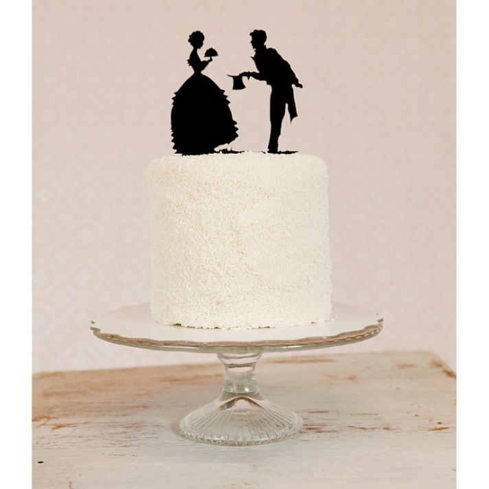 Vintageinspired silhouette wedding cake topper