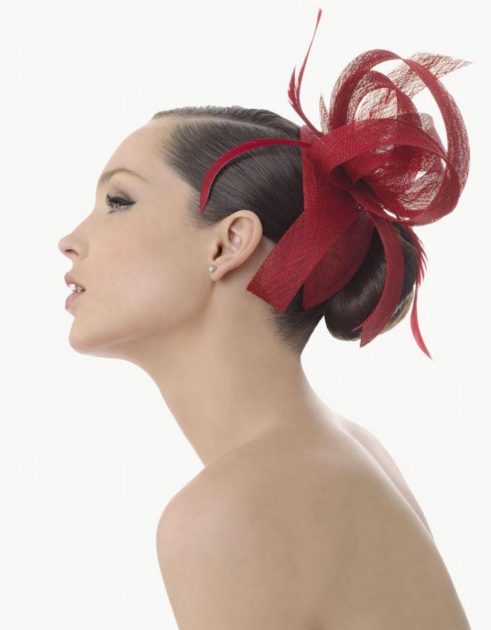 deep red wedding hair fascinator for brides or bridesmaids
