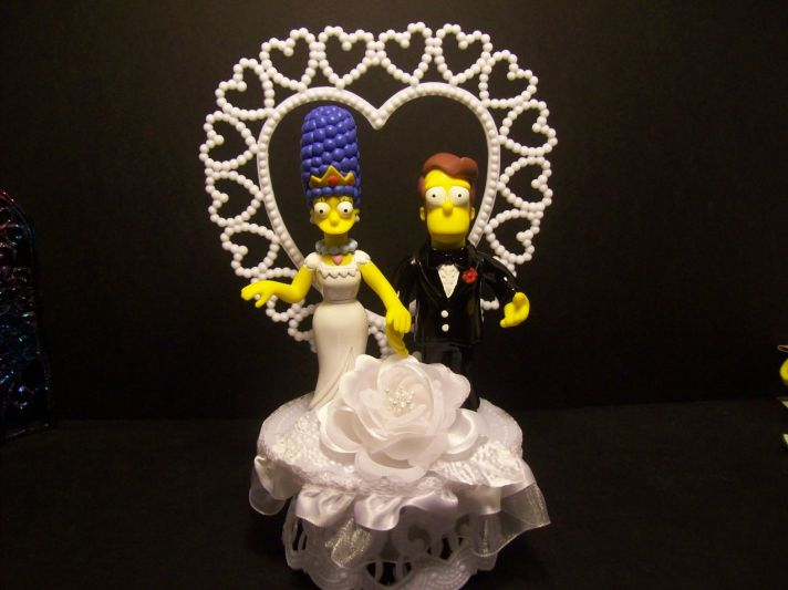 simpsons wedding cake topper