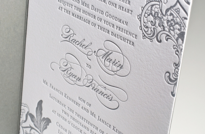 unforgettable wedding invitations gray white calligraphy letterpress wedding stationery