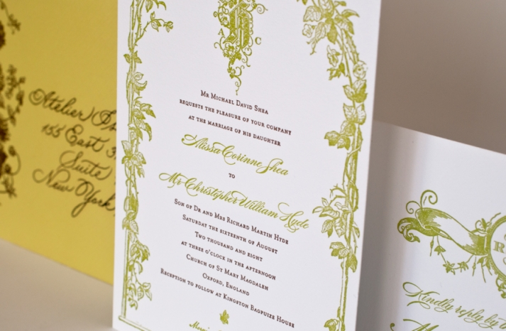 romantic wedding invitations white chartreuse cocoa