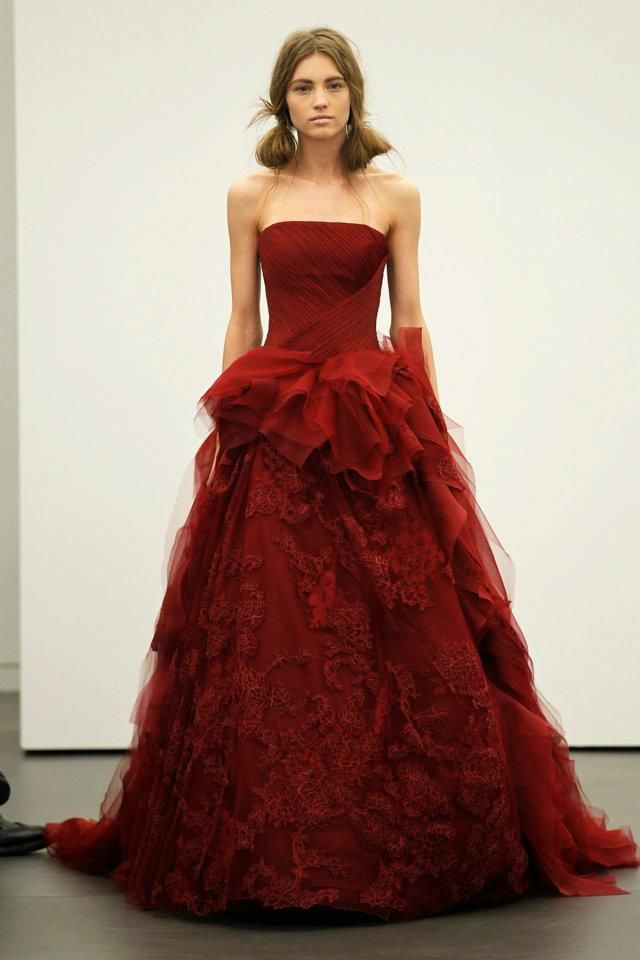 Spring 2012 wedding dresses Vera Wang bridal gown non white dresses red 3