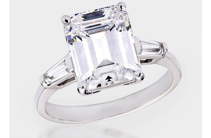 angelina jolie engagement ring emerald cut diamond engagement rings CZ non diamond