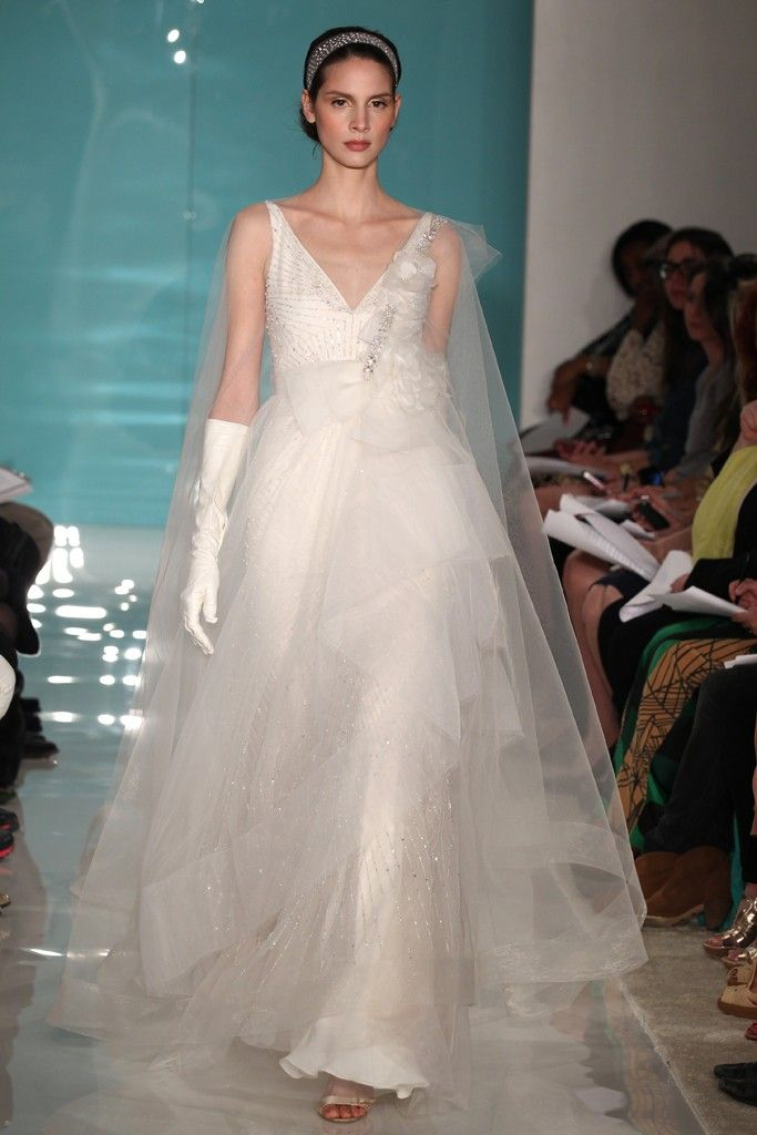 2013 wedding dress trend sheer necklines illusion fabric Reem Acra 12