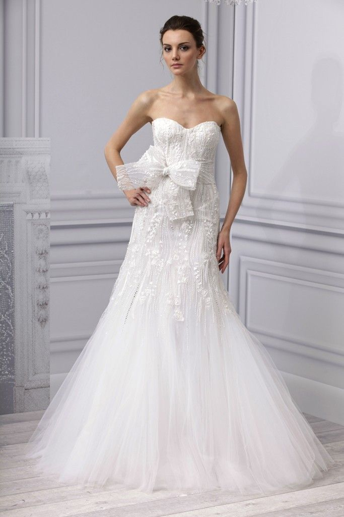 Spring 2013 wedding dress Monique Lhuillier bridal gown fit flare embellished bow