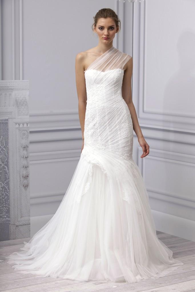Spring 2013 wedding dress Monique Lhuillier bridal gown one shoulder sheer