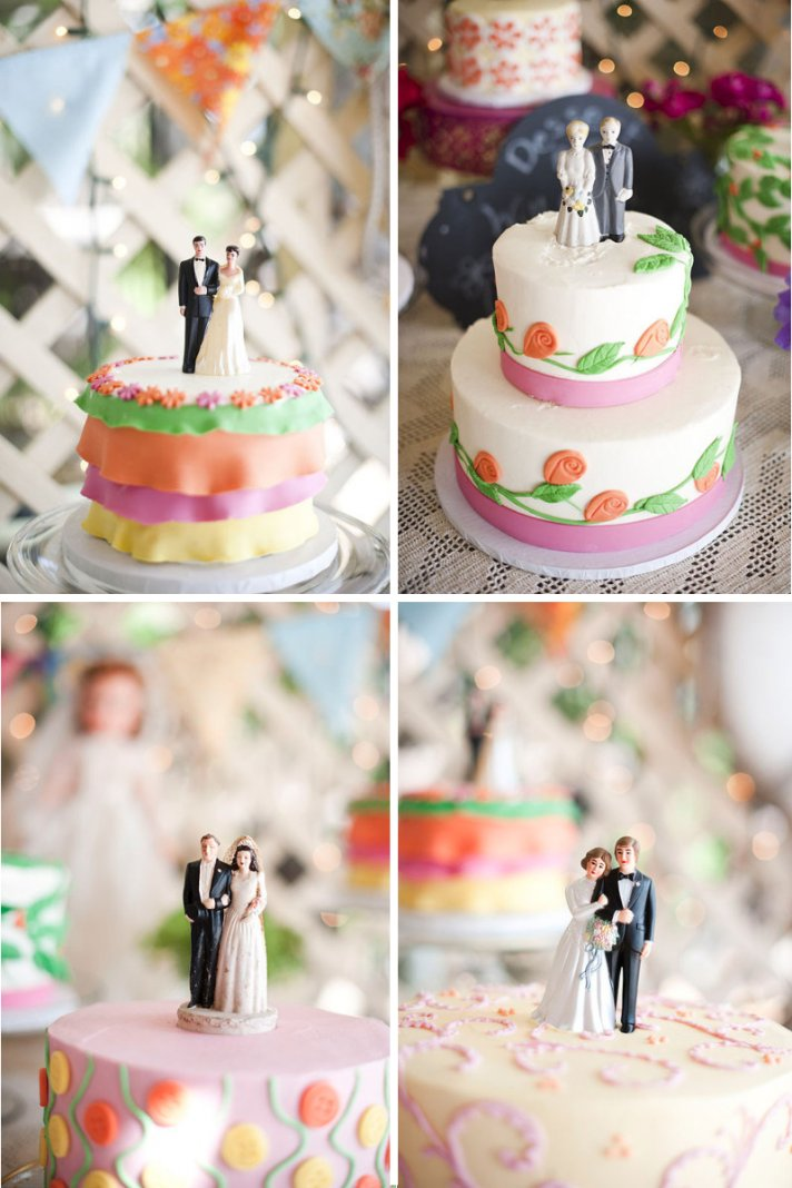 vintage wedding style multiple wedding cakes vintage toppers 3