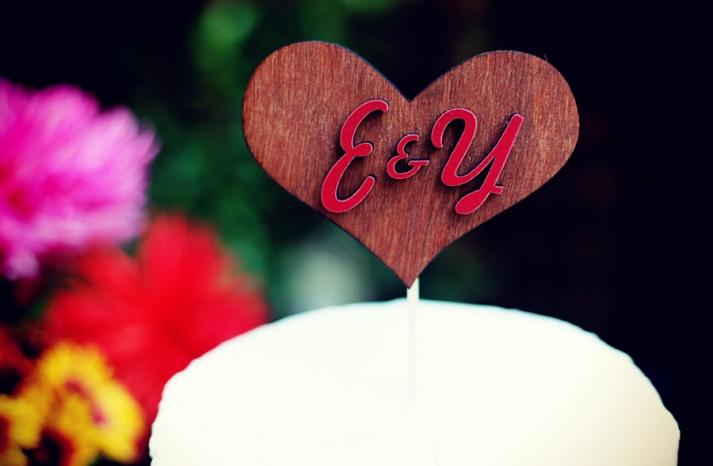 cute wedding cake toppers wood heart monogrammed handmade weddings