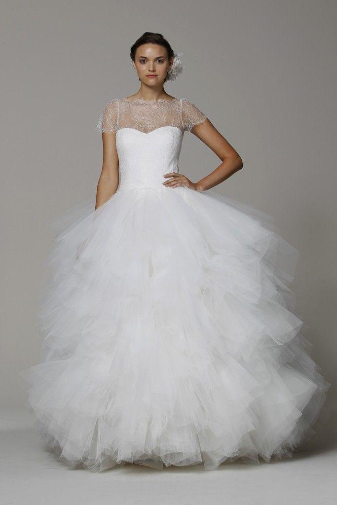 Marchesa wedding dress Spring 2013 bridal gowns tulle ballgown cap sleeves