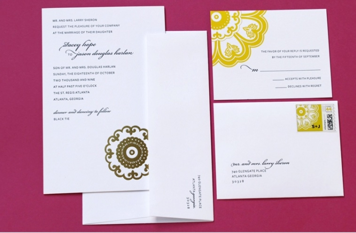 raspberry white yellow wedding invitations elegant wedding stationery 1