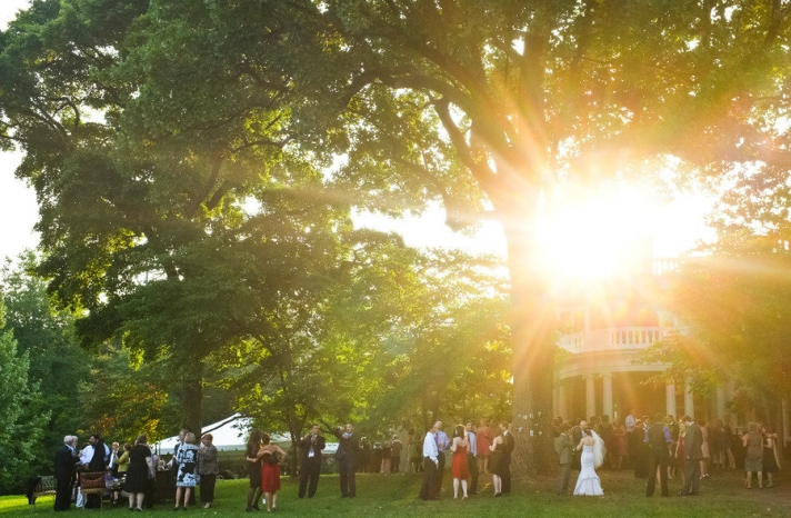artistic wedding photography outdoor ceremony under tree
