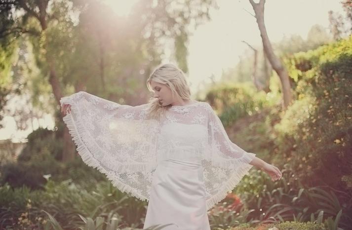 lace bridal cape pleated hem bohemian vintage bride