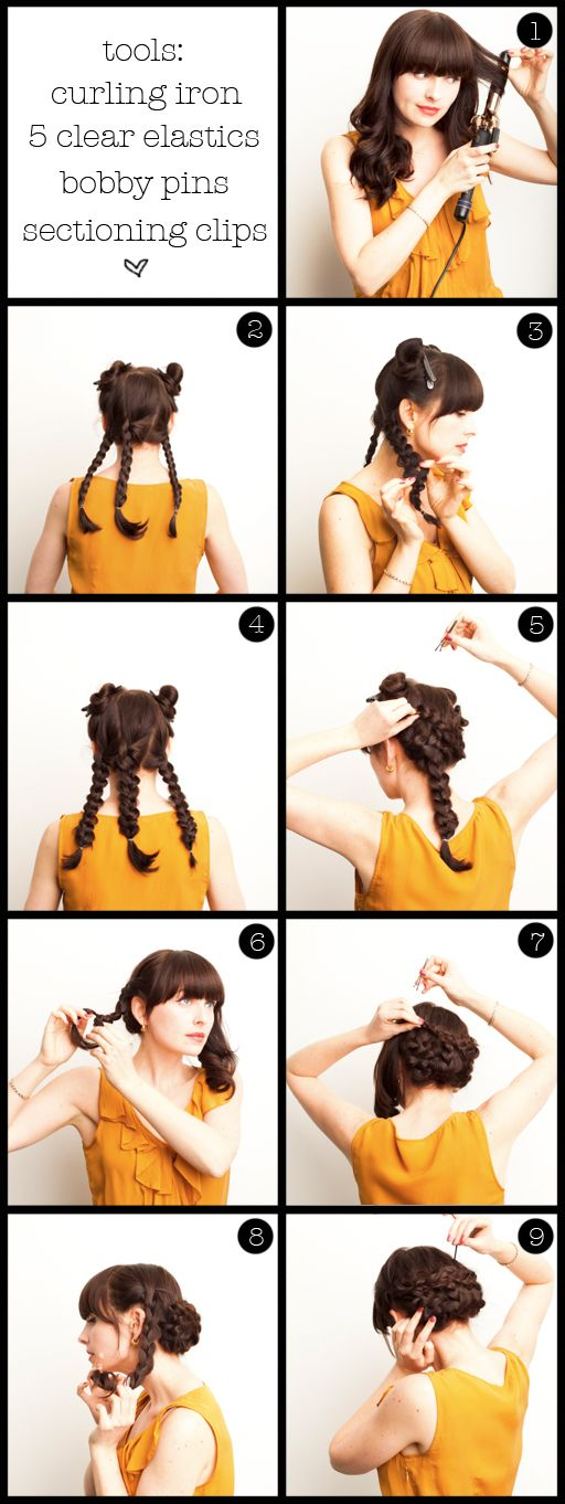 twisted updo wedding hair DIY with bangs