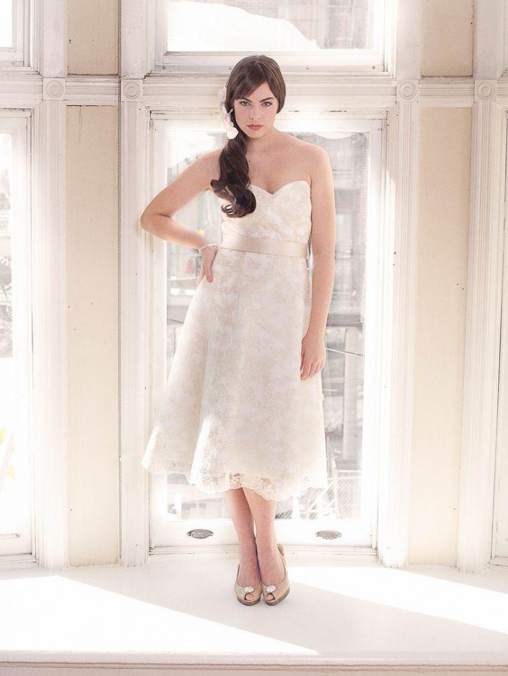 Sweetheart wedding dress vintage inspired tea length bridal gown