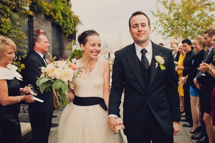 who wore the wedding dress best Vera Wang ballgown tulle illusion neckline black sash 1