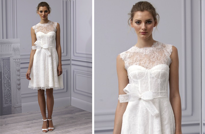 pretties little white wedding dresses spring 2013 Monique Lhuillier lace