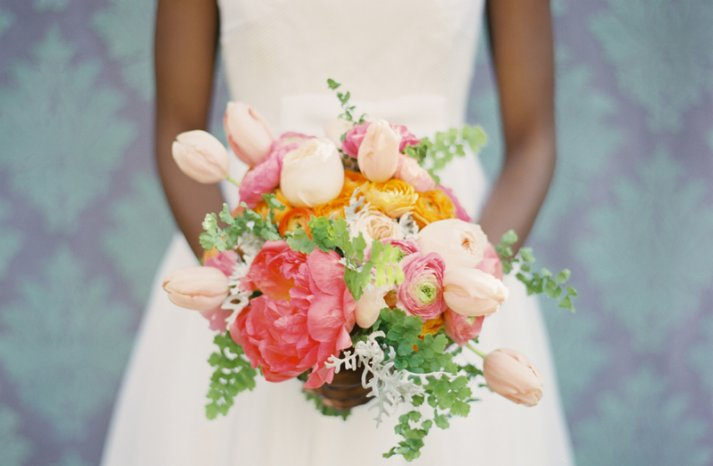 romantic wedding flowers anemone tulip bridal bouquet pink peach green orange