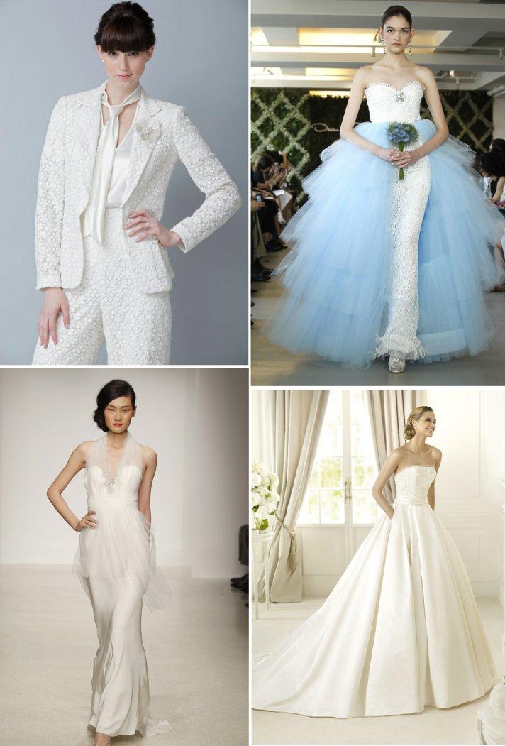 2013 wedding dress trends peplums pockets pants sheaths