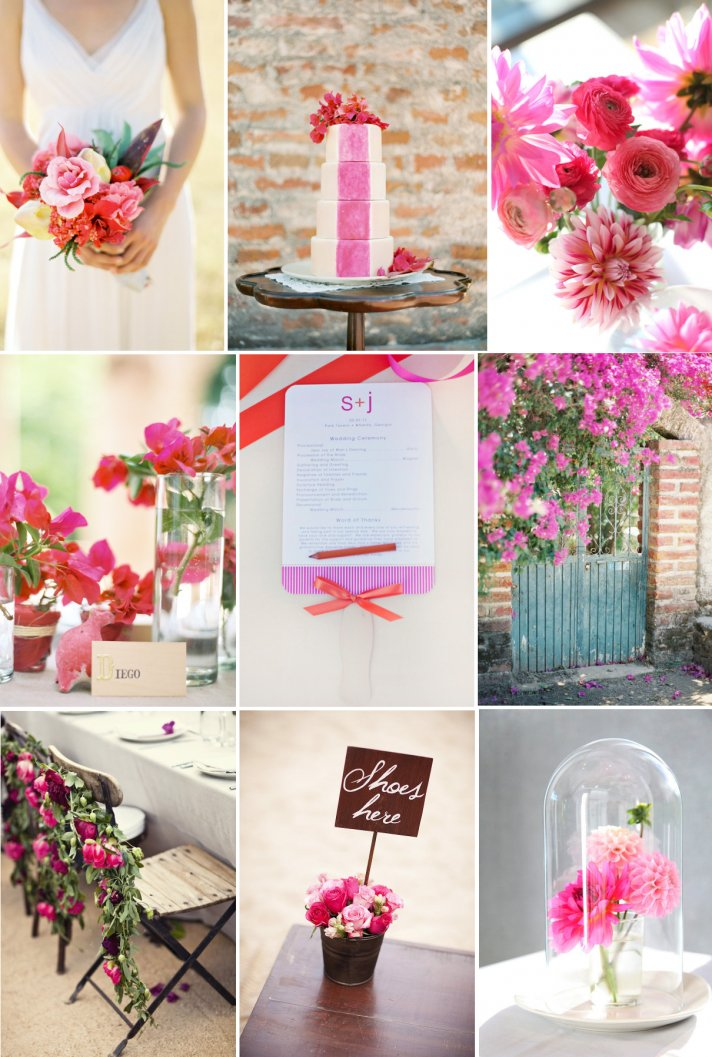 Poppin Pink Red Wedding Color Palette