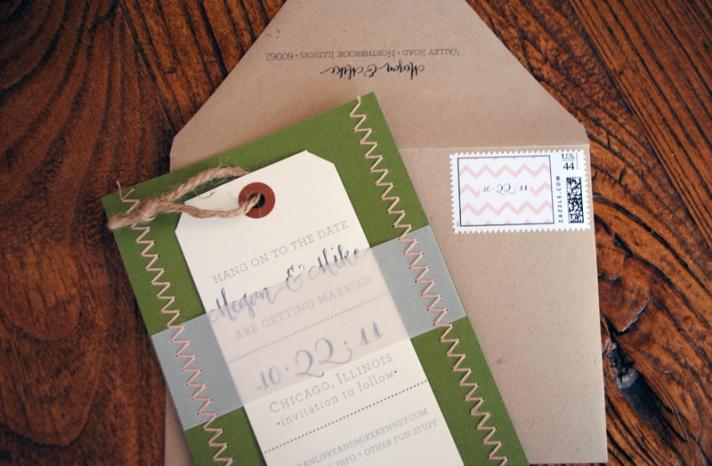 letterpress wedding invitations stitched wedding stationery green ivory khaki 1
