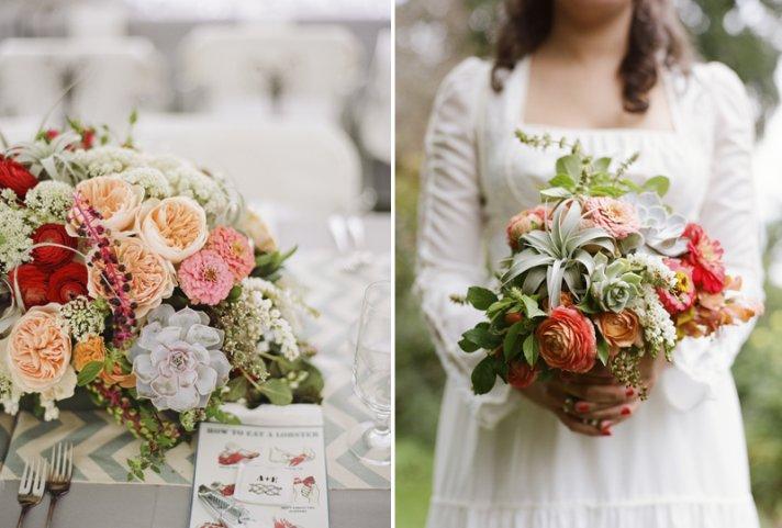 wedding flowers romantic reception centerpiece bridal bouquet succulents ranunculus