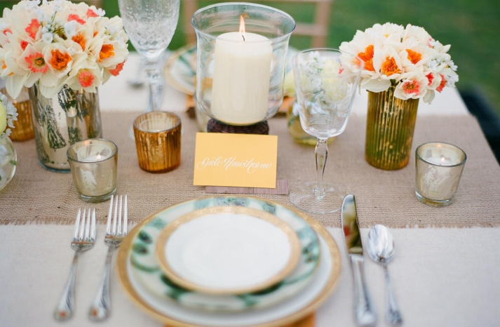 gorgeous wedding reception tablescape outdoor wedding burlap metallic gold silver orange