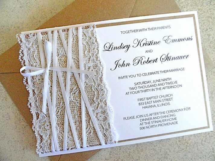 lace embellished burlap wedding invitations