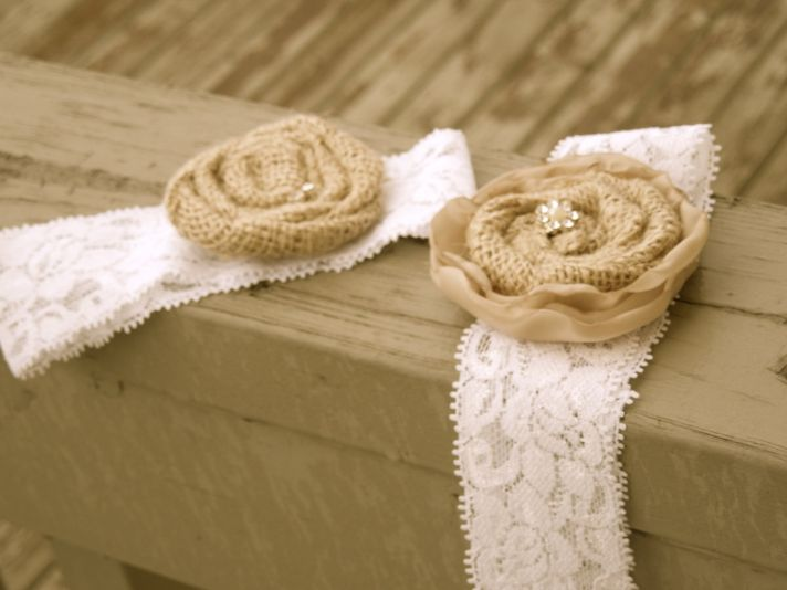 bridal garter lace burlap
