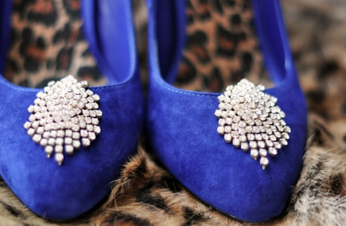blue wedding shoes vintage diamante shoe clips