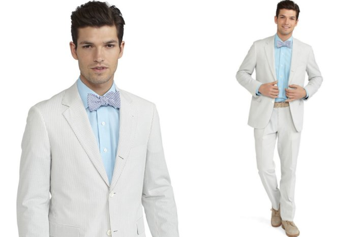 statement wedding suits for the groom seersucker