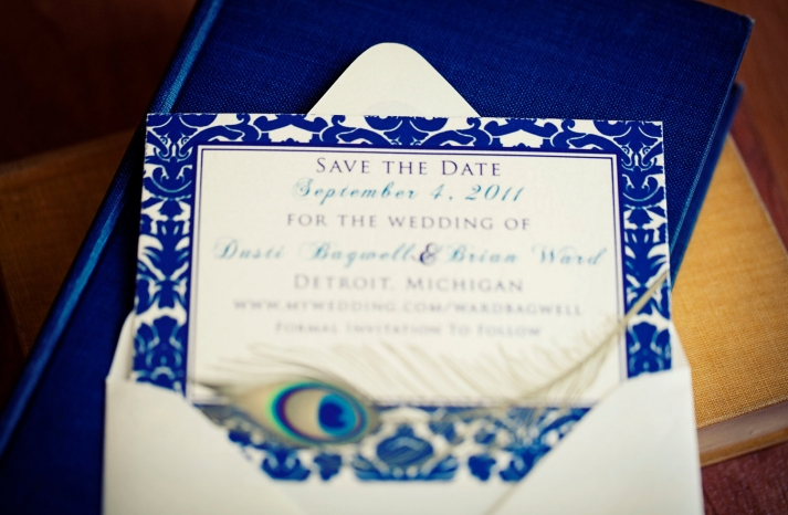 elegant navy ivory wedding save the date with peacock feather