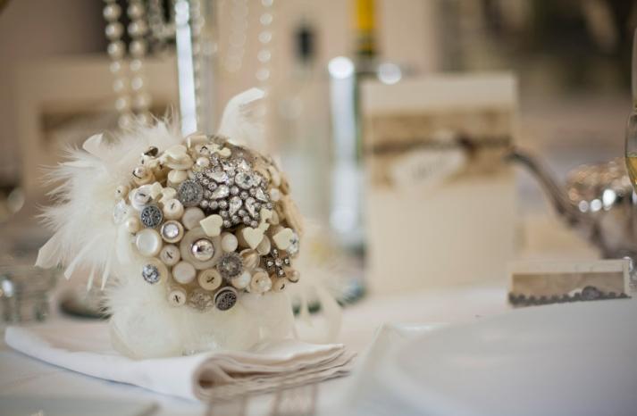 vintage wedding decor feather brooch button bridal bouquet