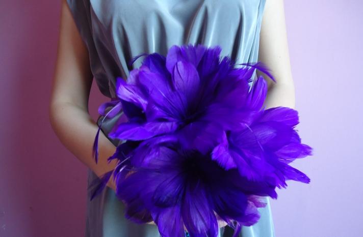 deep violet feather bridesmaid bouquet