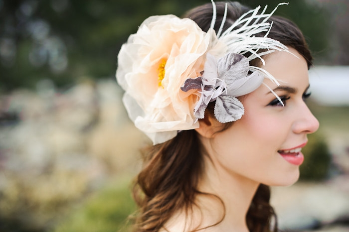 peach gray feather wedding headpiece