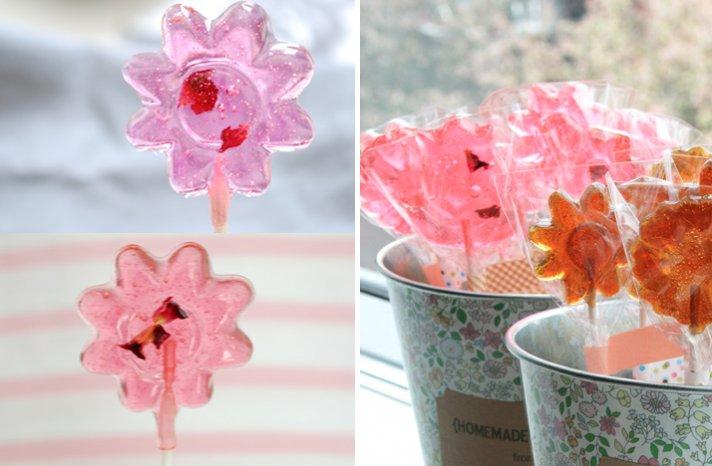 DIY wedding lollipops for wedding guest favors pink orange