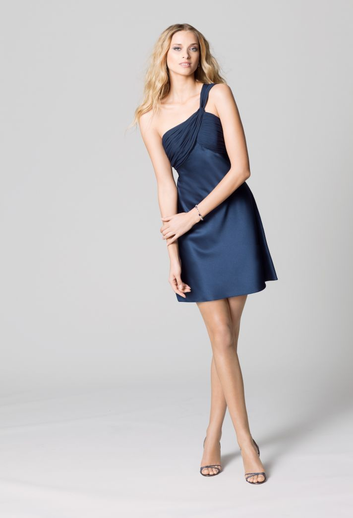 affordable bridesmaids dresses Fall 2012 WTOO by Watters bridal party navy shimmer one shoulder
