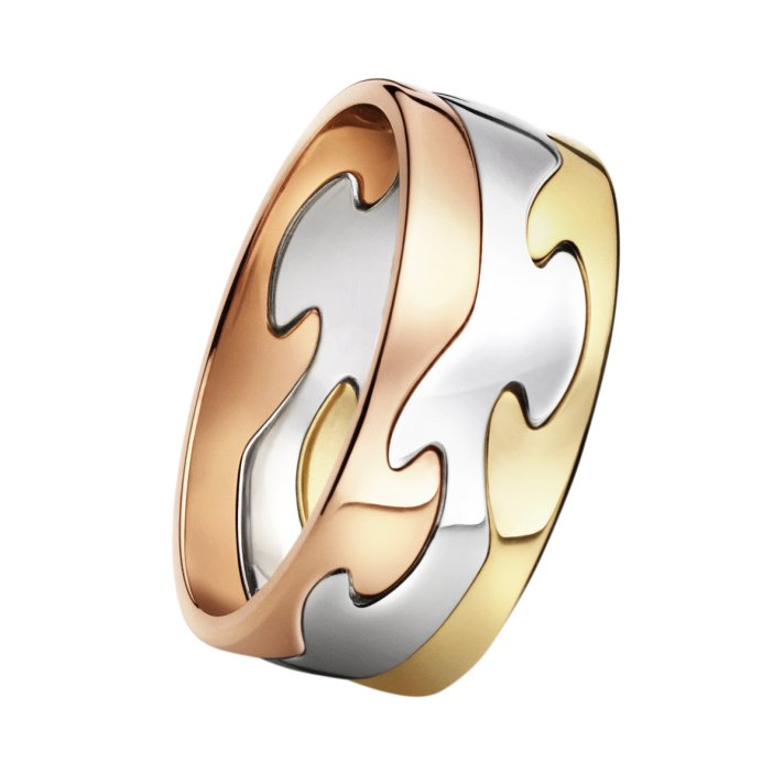 tri metal wedding band red yellow white gold