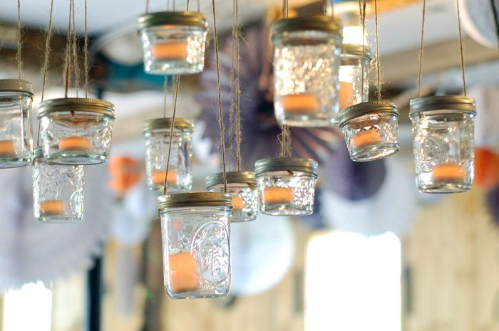 mason jar chandelier for vintage weddings