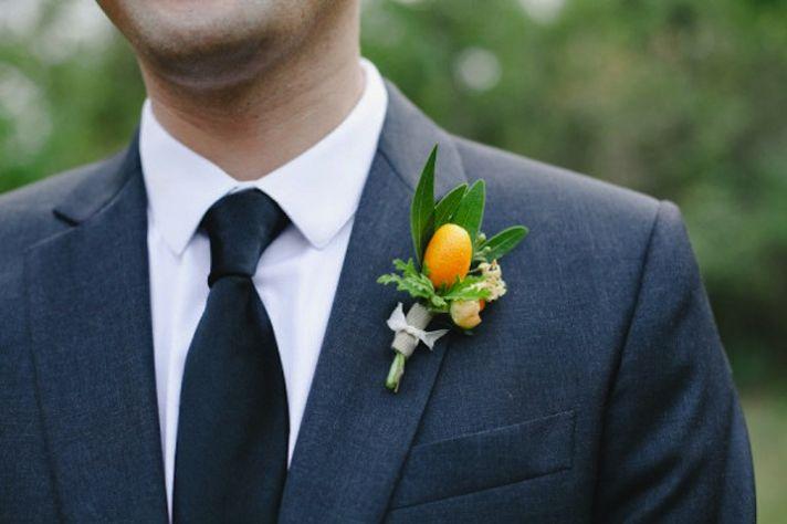 unique grooms boutonniere citrus details