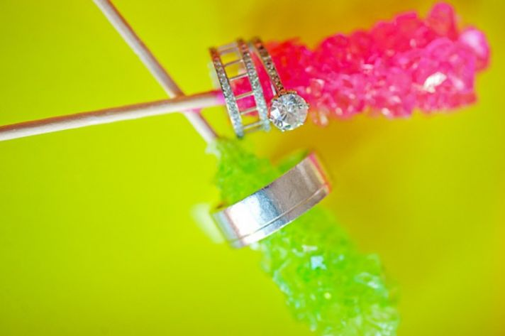 neon wedding inspiration- engagement ring shot with rock candy