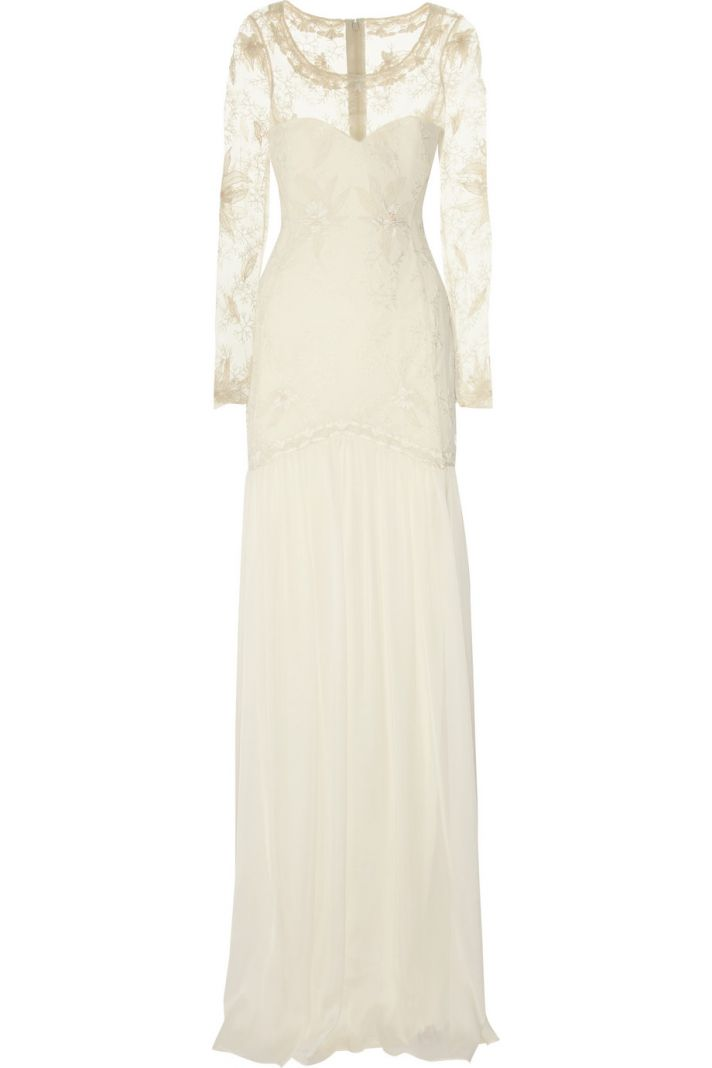 temperley london wedding dress cream with sheer sleeves