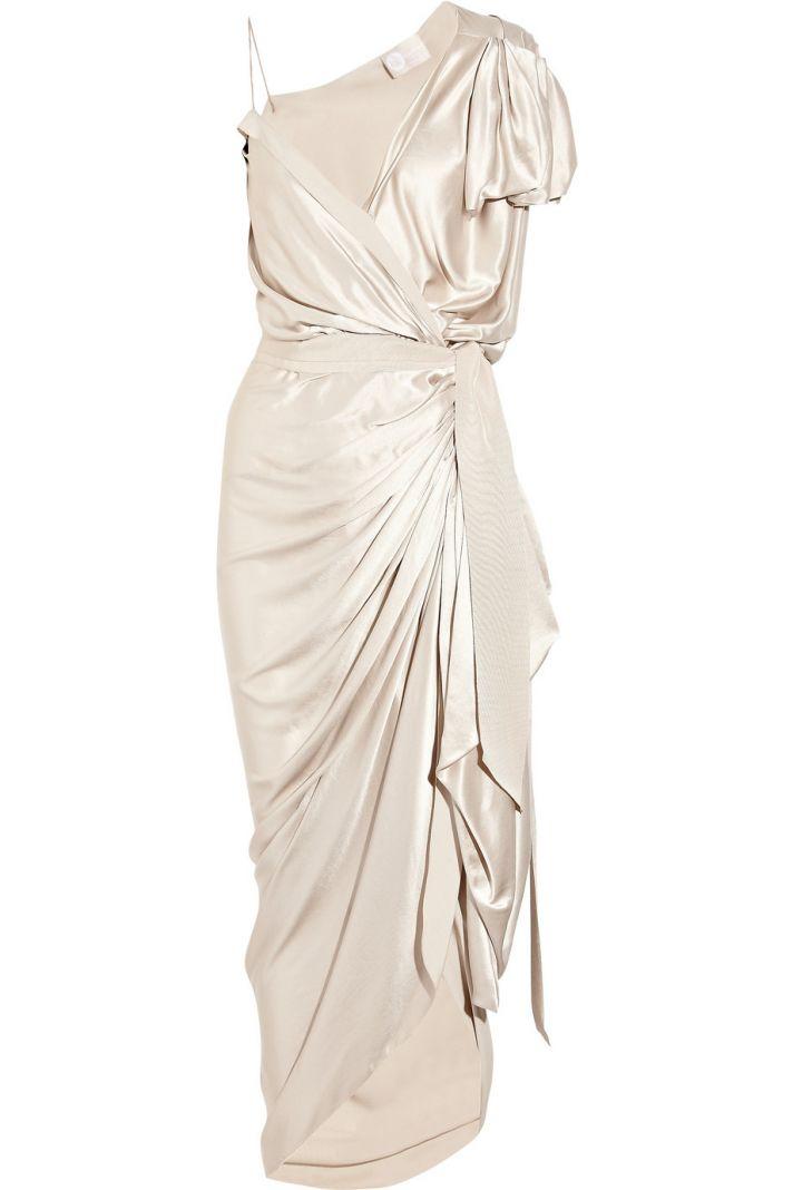 asymmetric silk satin wrap wedding dress or LWD