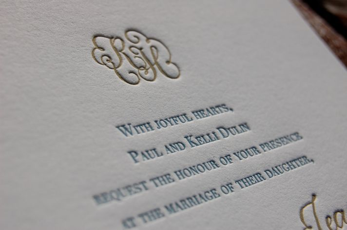 Elegant Letterpress Wedding Invitations Gold Gray Blue White Great Pictures