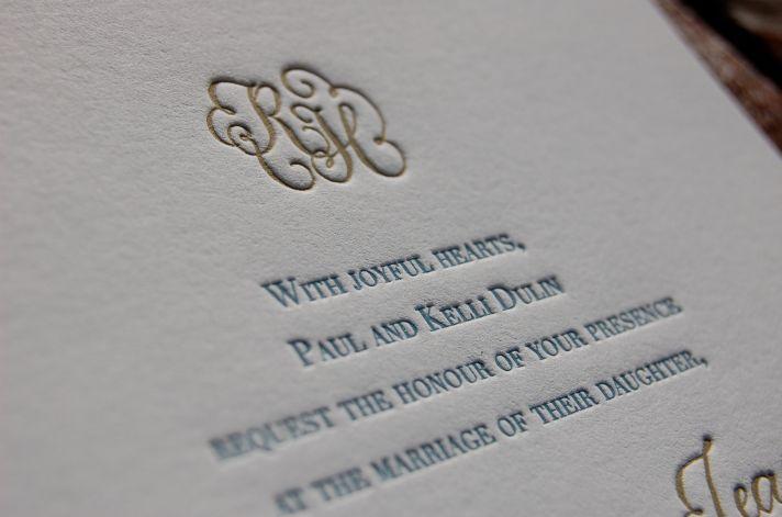 elegant letterpress wedding invitations gold gray blue white