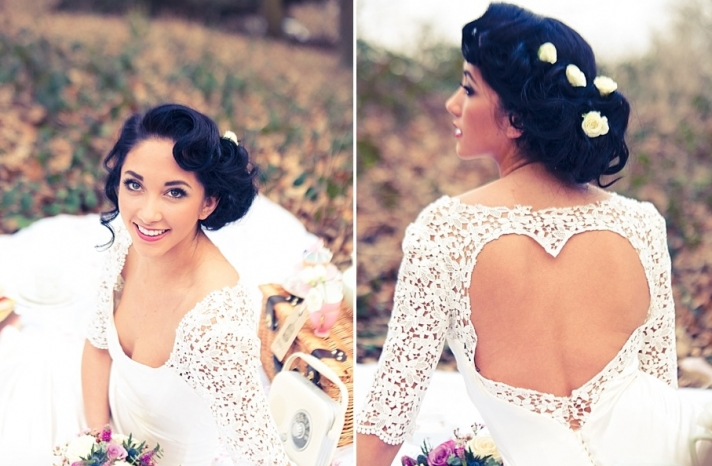 retro waves wedding updo with flower accents 2